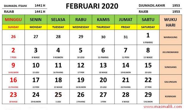 Kalender Tahun 2020, februari