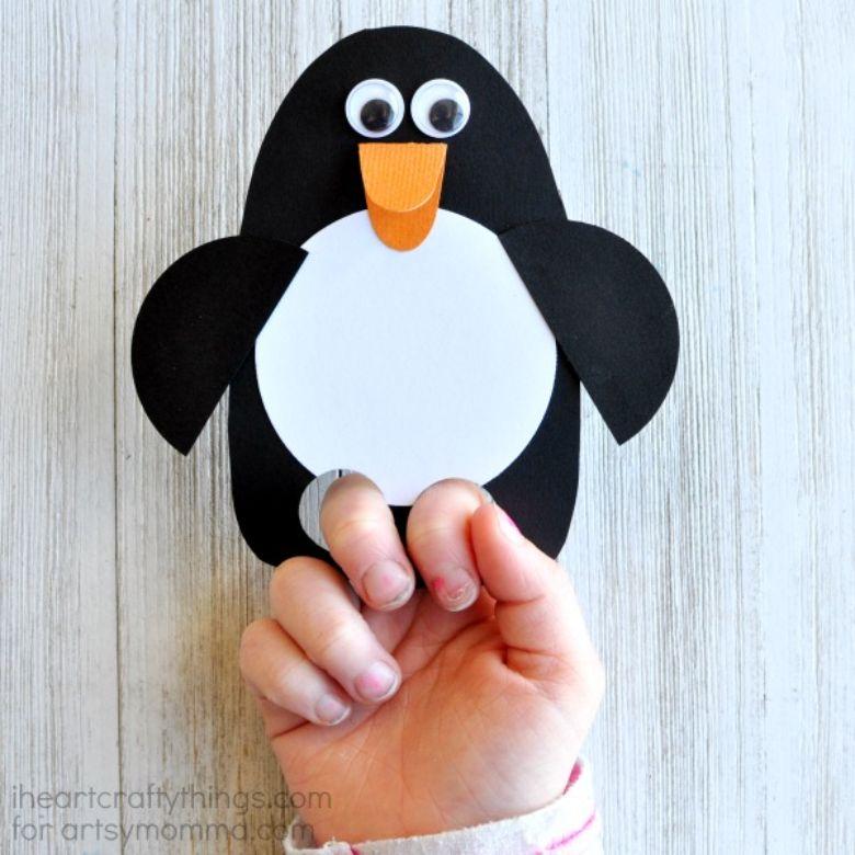 penguin puppet craft
