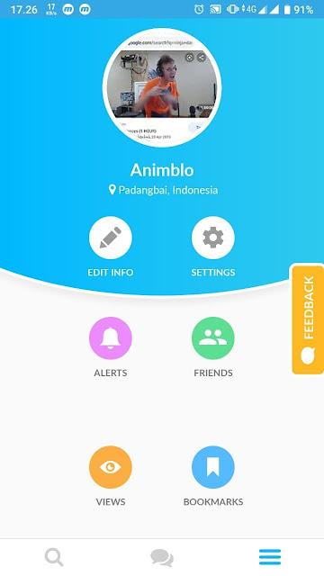 Tampilan Profil di aplikasi Interpals