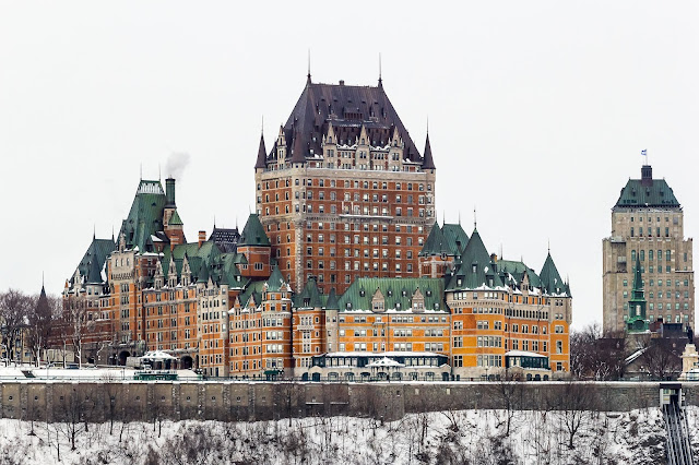 view of Chateau Frontenac from the Lévis Ferry