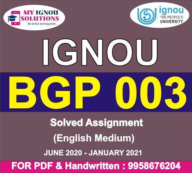 BGP 003 Solved Assignment 2020-21