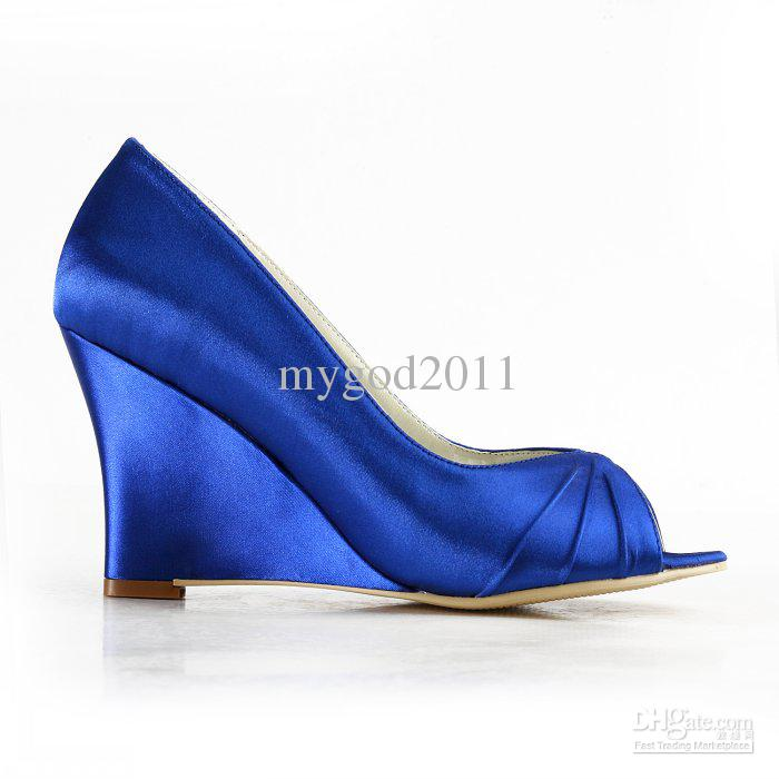 Perfect Magnificent Blue Satin ; Wedge ; Bridal Shoes Heel