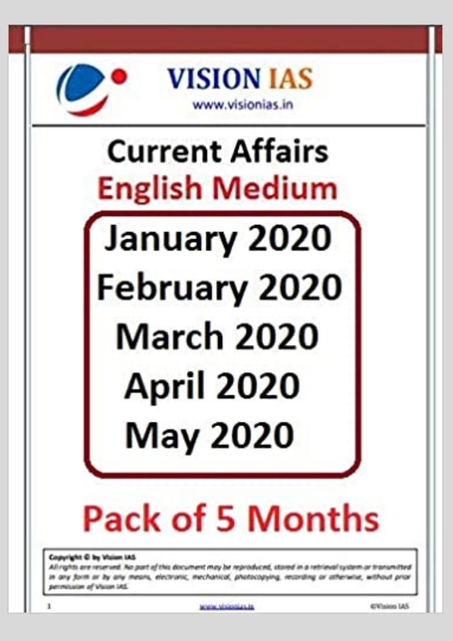 Vision IAS Current Affairs 2020 [Pack of 5 Months] at EasyJobsLive