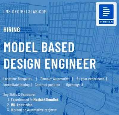 Job Opening for Model Based Design Engineers Apply Here.