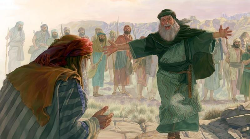Jacó retorna para seu irmão Esaú e se encontram para fazerem as pazes