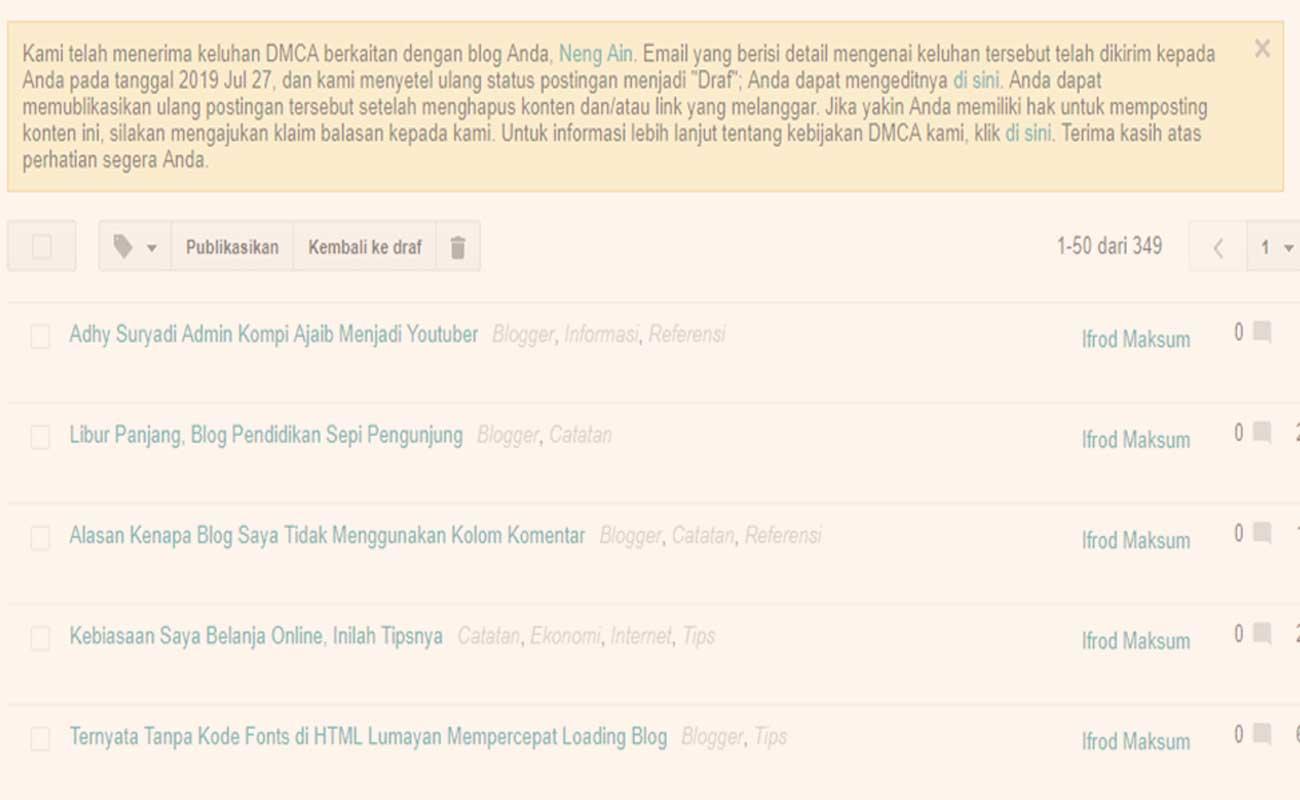 Kerjaan Orang Iseng Artikel Original Dilaporkan ke DMCA
