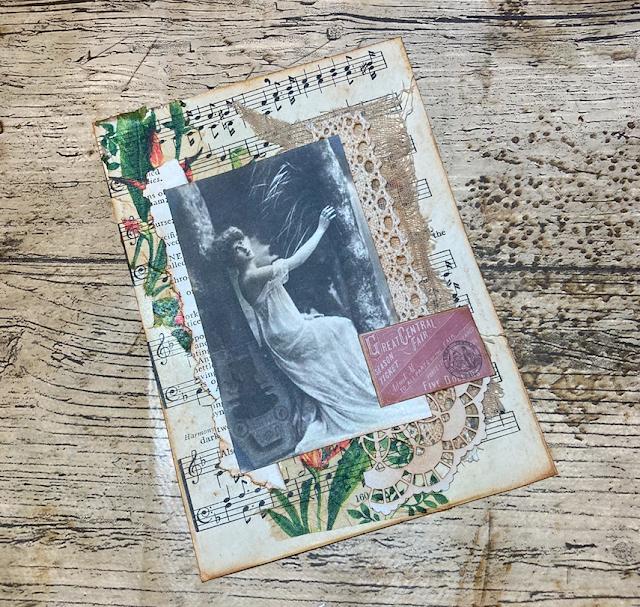 Altered Postcard For My Vintage Days Journal