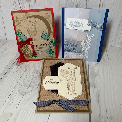 Three Holiday cards using Nature's Beauty Stamp Set