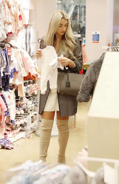 Rachel Fenton in Mini Dress Shopping in London