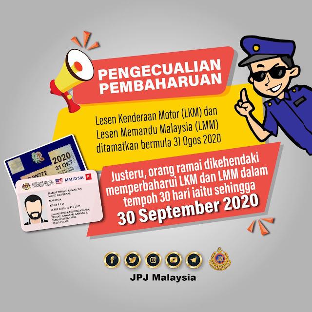Sila 'Renew' Lesen Memandu Anda Sebelum Tamat 30 September 2020