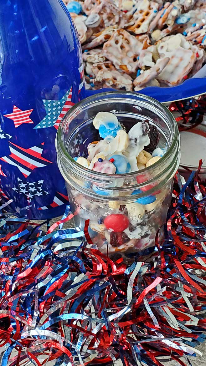 Patriotic candy and snack mix for the 4th of July in a mason jar