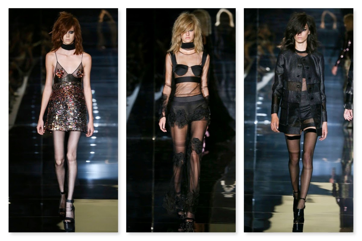 4af1119bdd3bb6 At Tom Ford, frail models with shaggy wigs and deadpan expressions debuted  his Spring/Summer 2015 rough yet glamorous rock-chic story.