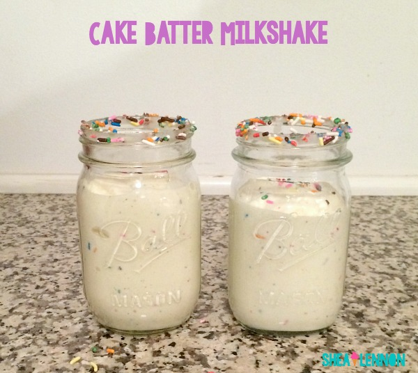 Make a special Valentine's treat for the cake-lover in your life--a cake batter milkshake. They are super easy to make and super delicious!