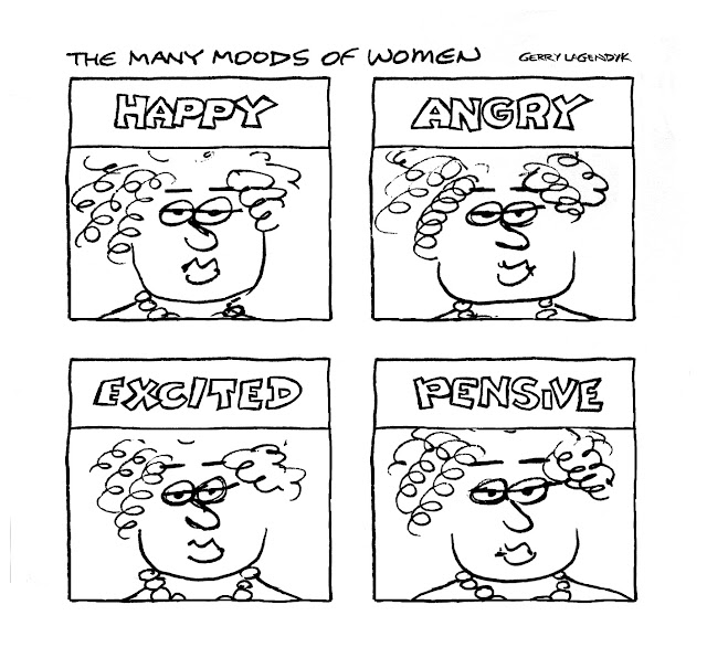 a cartoon about a woman's emotions by Gerry Lagendyk