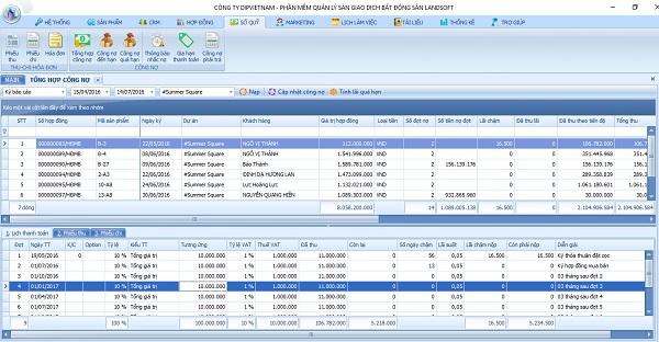 Giao diện phần mềm quản lý bất động sản Landsoft cho Tập Đoàn Hòa Phát