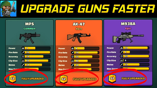 Upgrade Guns faster in Mini Militia
