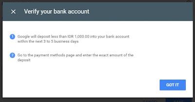 verifikasi rekening bank dari google adsense - google mentransfer kode verifikasi