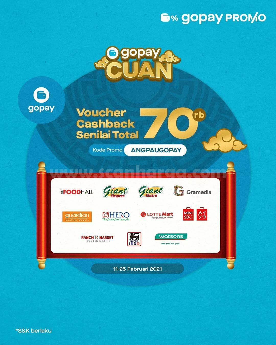 Promo GOPAY CUAN! Dapatkan Voucher Cashback senilai Rp 70Rb