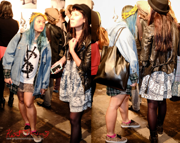 Two friends, patterns and blue hair, Denim Jacket, Patterned dress and black jacket and hat - Richard Kern Exhibition Sydney -VICE Mag - Street Fashion Sydney.