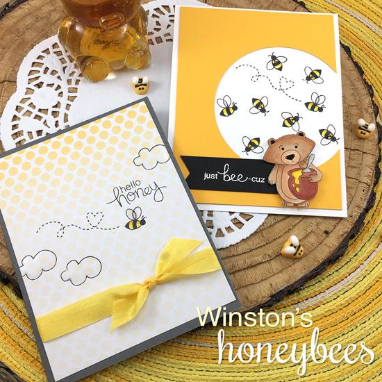 Bear and Honeybee cards by Jennifer Jackson | Winston's Honeybees stamp set by Newton's Nook Designs #newtonsnook
