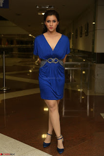 Mannara Chopra in Short Blue Dress at Rogue Movie Teaser Launch 1st March 2017 063.JPG