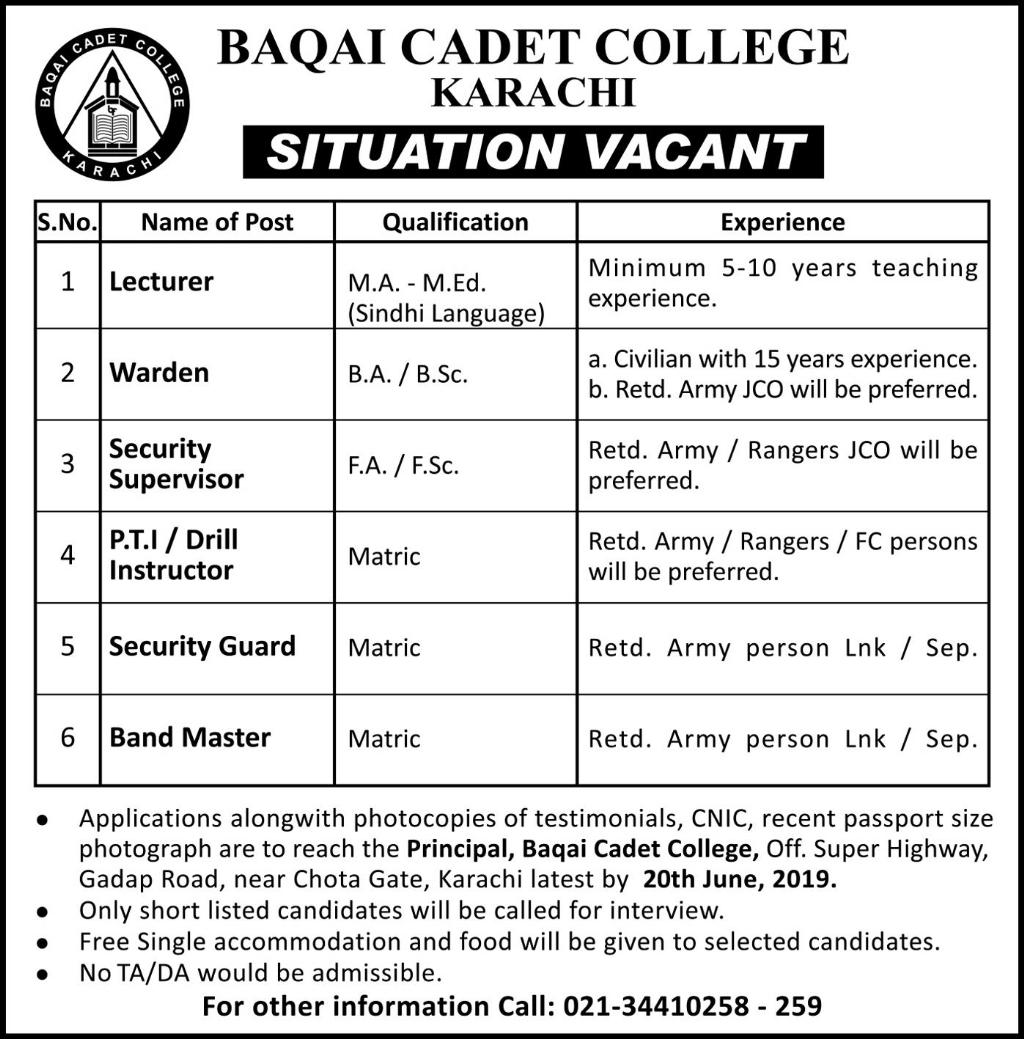 Baqai Cadet College Lecturer Jobs Karachi June 2019 - Sindh Jobs