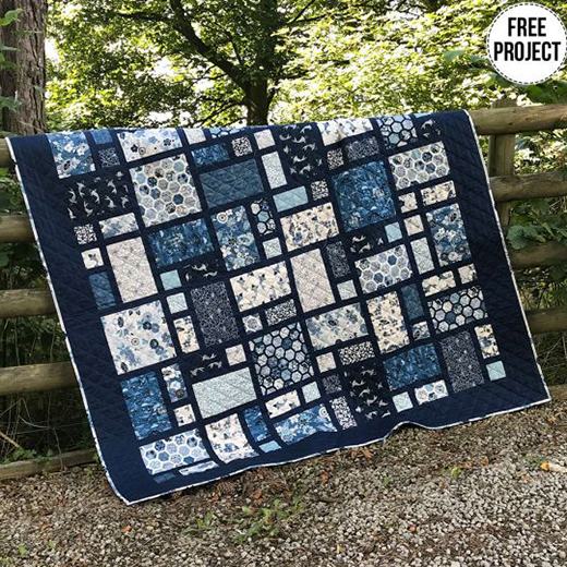 Indigo Quilt designed by Lynne Goldsworthy of LilysQuilts using the Indigo collection from Makower Uk