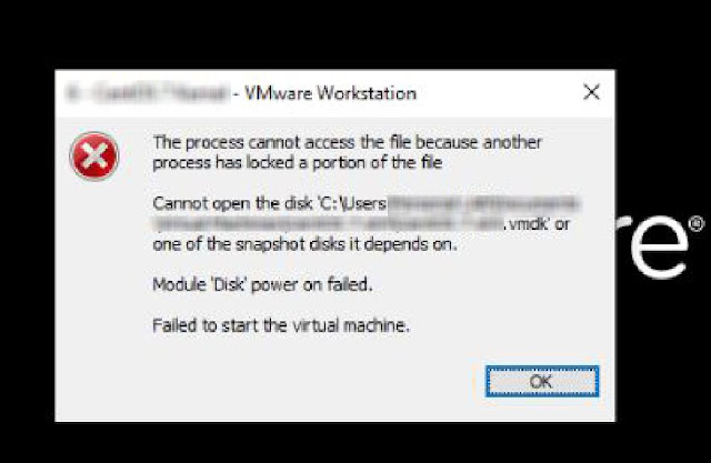 حل مشكلة vmware workstation module disk power on failed to start the virtual machine