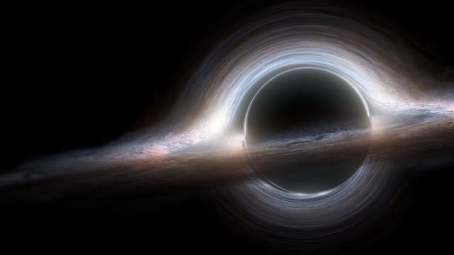 ilustração artística de buraco negro do filme Interstellar
