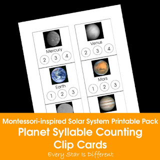 Montessori-inspired Solar System Printable Pack: Planet Syllable Counting Clip Cards