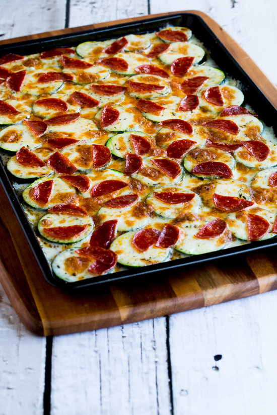 Val's Kid-Friendly Broiled Zucchini with Mozzarella and Pepperoni found on KalynsKitchen.com.