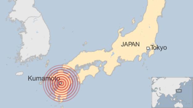 Japan Earthquakes - Japan quake map 2016