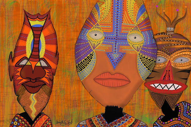 three tribal men with colorful African masks