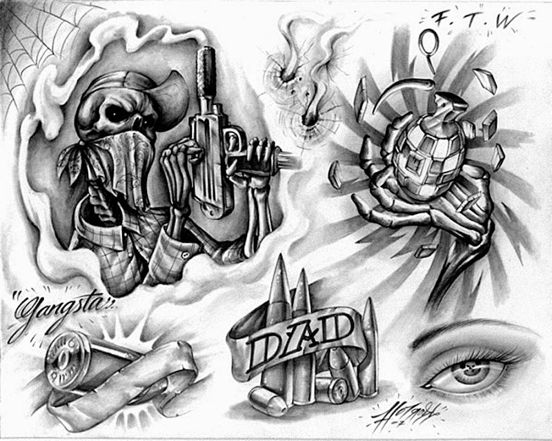 schelet cu uzi, o grenada si gloante desen pentru tatuaje