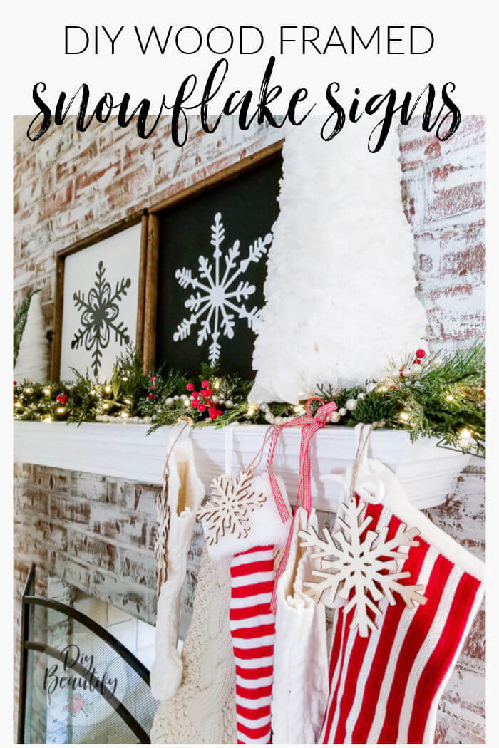 snowflake signs on Christmas mantle