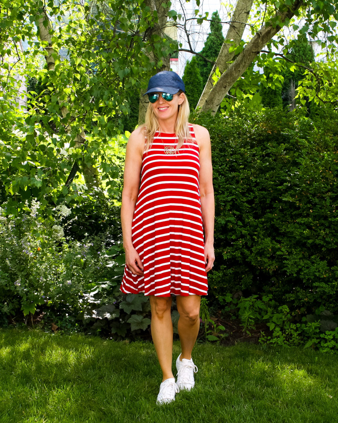 red and white striped swing dress