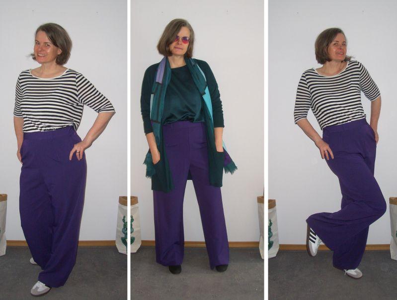 Bürooutfit lila Marlenehose mit Ringelshirt und weiß-scharzen Adidas