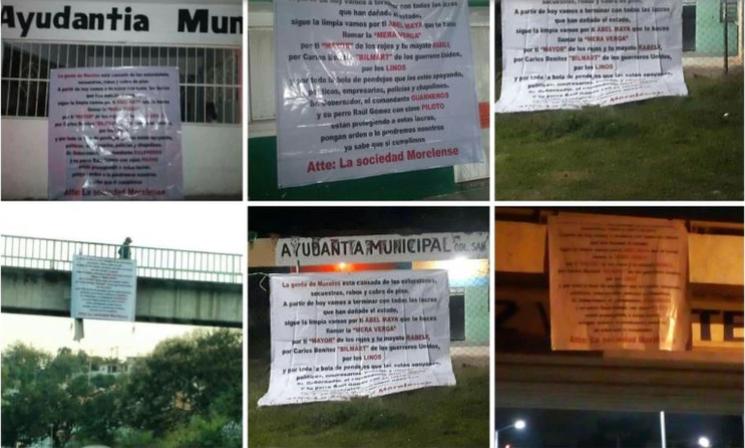 """""""Pongan orden o lo pondremos nosotros"""", Aparecieron más de 20 narcomantas amenazando a """"Los Rojos"""", """"Guerreros Unidos"""" y autoridades en Morelos"""