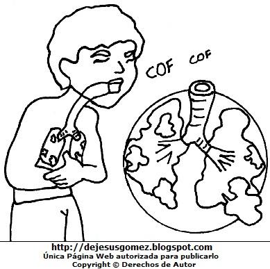 Dibujo Tuberculosis sin color para colorear pintar imprimir. Dibujo de la tuberculosis de Jesus Gómez