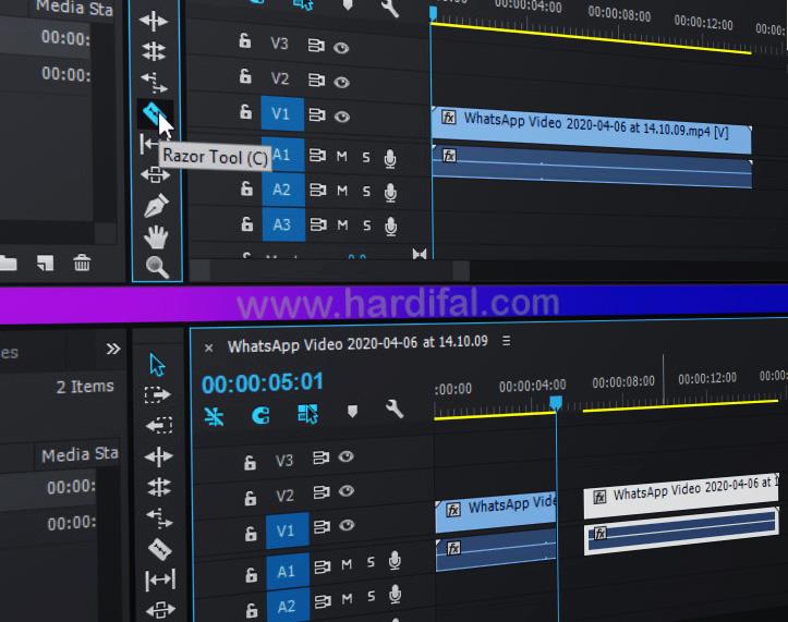 cara memotong video di adobe premiere