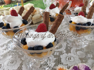 Fruit Cocktails with heavy whipping cream and twills