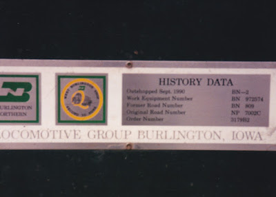 Burlington Northern F9-2 BN-2 Data Plate