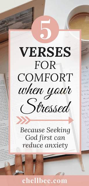 5 BIBLE VERSES for when your anxious. Study these scriptures for stress relief. bible quotes for women | panic attacks | stress | depression | comforting | scripture | peace | don't worry #bibleverse #stress