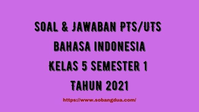 Soal & Jawaban PTS/UTS BAHASA INDONESIA Kelas 5 Semester 1 Tahun 2021