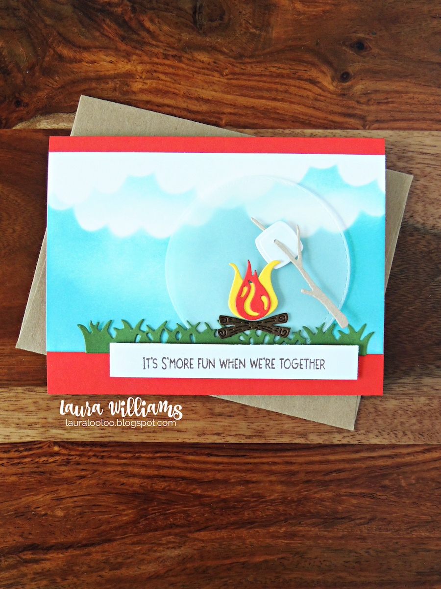 This s'more themed handmade card is fun for summer using stamps and dies from Impression Obsession. Stop by my blog to learn how to make the inky cloud sky and see s'more fun cards!