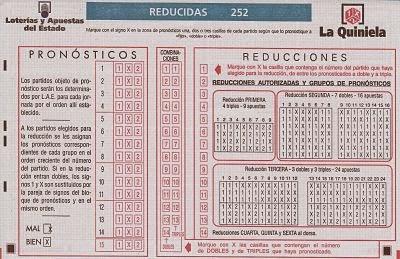 Boleto Oficial de Quinielas Reducidas