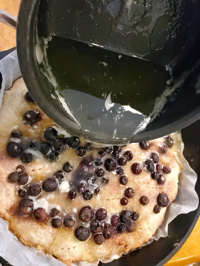 this is a buttery simple syrup poured over a blueberry shortcake
