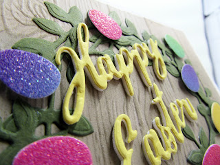 Rainbow Glimmer Paper eggs die cut from the Birds and More dies and Stampin'Up! Word Wishes sentiment