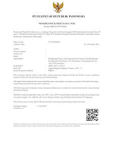 Contoh Surat API-U/P Nomor Induk Berusaha (NIB)