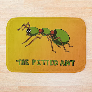 A cartoon ant made of olives on a bath mat